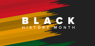 black history month text with red, yellow and green background