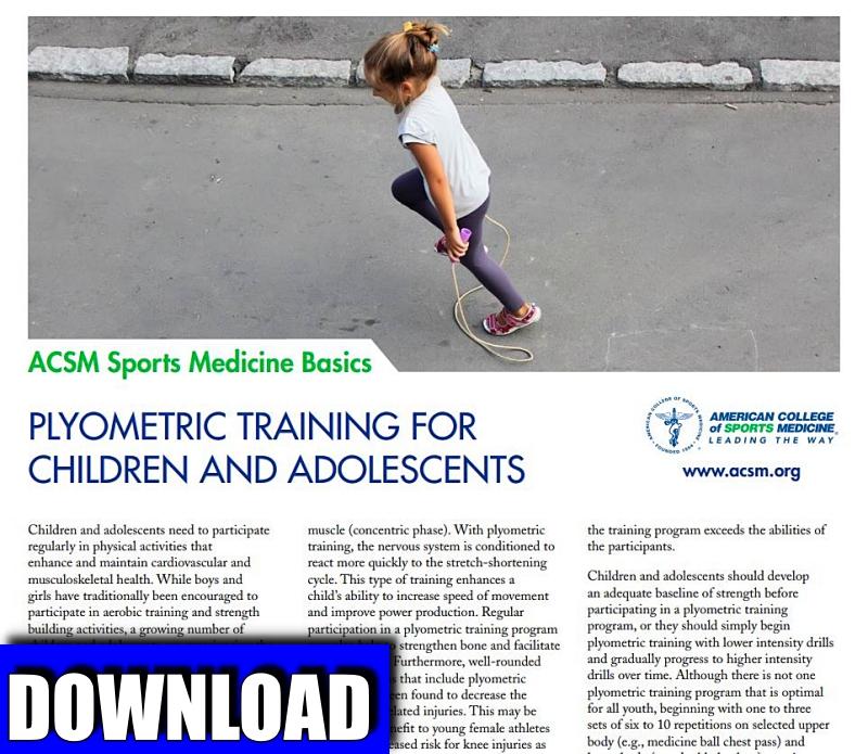 Client Resource Download | Plyometric Training for Children