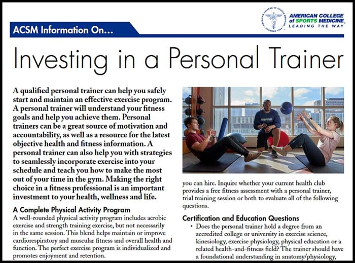 How to Choose a Personal Trainer ACSM